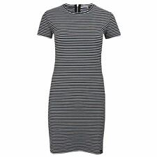 SUPERDRY EVIE TEXTURED STRIPE NAVY ECRU WOMENS DRESS