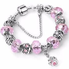 Pink Woman Silver Pandora Charm Bracelet Family Friends Love Gift 6 Murano Glass