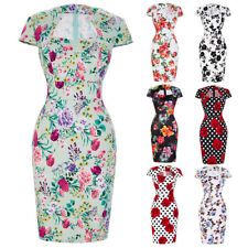 Women Floral 50s Vintage Style Retro Pin Up Cocktail Party Wiggle Pencil Dress ♡