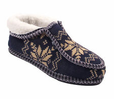 LADIES KNITTED WINTER SNOW FLAKES WOMEN'S FAUX SHEEP FUR WARM SLIPPER SHOES SIZE