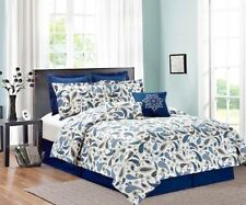 Eight (8) Piece Printed Bed In A Bag- Navy Blue Paisley- Queen and King Sizes