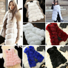 Womens Lady Luxury Faux Fur Vest Jacket Sleeveless Warm Coat Waistcoat Gilet NEW