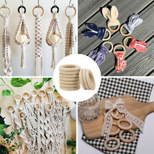 10 Pcs Natural Wooden Round Rings DIY Necklace Jewellery Making Craft Decoration