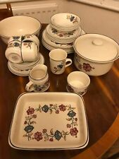 Boots Camargue dinner and tea sets - pink and blue flower pattern