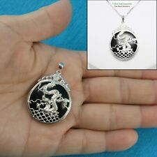 Solid Sterling Silver 925 Dragon Carving On 27mm Black Onyx Cabochon Pendant TPJ