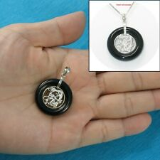 Solid 925 Sterling Silver Lucky Dragon in a 25mm Black Onyx Pendant TPJ
