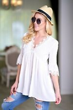 Off White Boho Peasant Gypsy Romantic Lace Tunic Empire Long Blouse Shirt Top