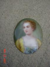 ANTIQUE VICTORIAN HAND PAINTED PORTRAIT BROOCH- SIGNED ON BACK-2X21/2