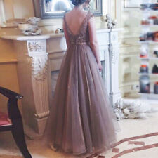 Women Backless Sleeveless Chiffon Fluffy Prom Ball Gown Wedding Bridesmaid Dress