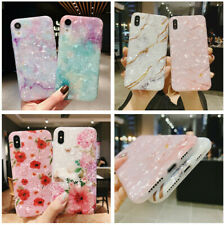 For iPhone Xs Max Xr 8 7 6s Plus Marble Flower Pattern Silicone Slim Case Cover