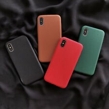 For iPhone Xs Max XR 7 8 6S Plus PU Leather Soft Rubber TPU Slim Back Case Cover