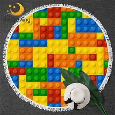 Toy Print Round Beach Towel for Kids Yoga Mat Bricks Game Blanket 150cm