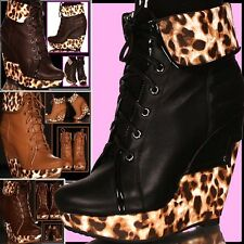 ██▌SUPER SEXY HOT LEO 13,5 cm ANKLE BOOTS KEILABSATZ PLATEAU Stiefelette██▌35-41