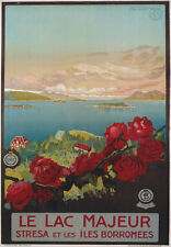 TV13 Vintage 1920's Italian Italy Le Lac Majeur Lake Travel Poster Re-Print A4