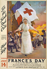 WA25 Vintage WWI French Red Cross Fund Raising War Poster WW1 Re-Print A4