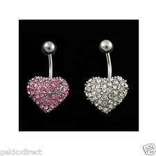 Surgical Steel CZ Gem / Ferido Style Heart Belly Bar / Navel Ring- Choose Colour