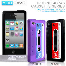 Accessories For The Apple iPhone 4 / 4S Novelty Silicone Cassette Case Cover UK
