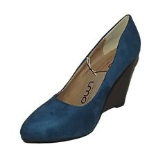 CLASSY NEW BLUE FAUX SUEDE HIGH HEEL POINTED WEDGE COURT SHOES WEDGES SIZE 3-8