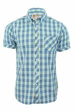 Nickelson Mens Fashion Shirt Short Sleeves Check Blue