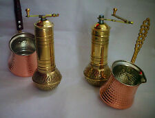 "Turkish Coffee Brass Grinder Mill 7.5"" & Coffee maker cezve wood or brass holder"