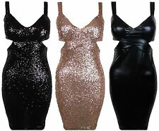 New Cut Out Waist Strappy Sequin Wet Look Faux Latex Bodycon Dress UK 8 10 12 14