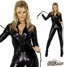 Black Catsuit Sexy Catwoman Fancy Dress Wetlook Bodysuit Outfit Jumpsuit