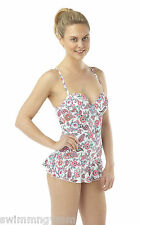 LADIES WHITE / PINK PAISLEY RUFFLE / SKIRT SWIMSUIT SIZE 10 12 14 16 NEW PADDED