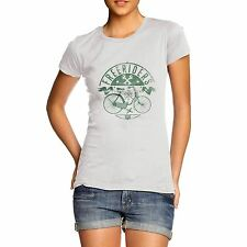 Women's Free Rider Green Bike Distress Print T-Shirt