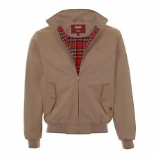 MENS MERC LONDON PRINCE OF WALES CHECK LINED CLASSIC HARRINGTON JACKET - TAN