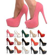 NEW LADIES PARTY PLATFORM HIGH HEELS STILETTO COURT SHOES SIZE 3 - 8