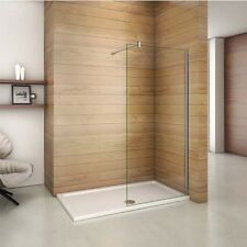 Aica Walk in Wet Room Shower Enclosure 8mm Easy Clean Glass Screen Cubicle Panel