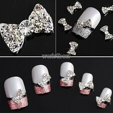10/20Pcs 3D Rhinestone Bow Tie Nail Art Tips Stickers Slices Decoration DIY WST