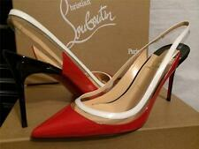 Christian Louboutin PAULINA Sling 85 Patent Leather PVC Heels Shoes Red $695