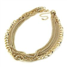 "7 Strand Mixed Mesh and Curb Style Chain Necklace 45cm (17.7"") Fashion Jewellery"
