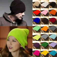 New Men's/ Women's Winter Beanie Cuff Blank Plain Ski Knit Cap Skull Beanie Hats