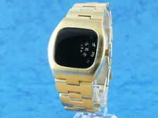 GOLD Space Age 70s Jump Hour Digital Vintage Retro LED LCD era Watch 1