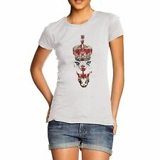 Women Cotton Novelty Cool Union Jack Lion Print T-Shirt