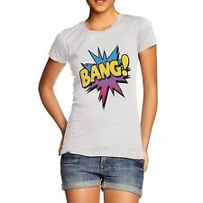 Women Cotton Novelty Comic Book Theme Bang! Print T-Shirt
