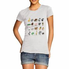 Women Cotton Novelty Funny Zoo Theme Cute Animal Print T-Shirt
