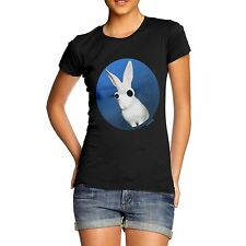 Women Cotton Novelty Funny Animal Theme Googly Bunny Rabbit Print T-Shirt