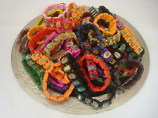 Rosary bead/religious image elasticated wooden/plastic bracelet.Choice of colour