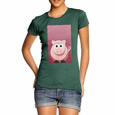 Twisted Envy Women's Pink Pig 100% Organic Cotton T-Shirt