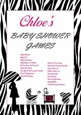 Personalised Baby Shower Games on CD   Pink Zebra   NOT PRINTED SHEETS