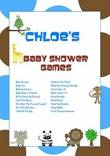 Personalised Baby Shower Games on CD   Blue Animals   NOT PRINTED SHEETS