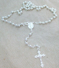 MADE IN ITALY - 925 STERLING SILVER 4mm BALL ROSARY bead CRUCIFIX CHAIN NECKLACE