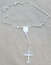 MADE IN ITALY - 925 STERLING SILVER 2.5mm ROSARY bead CRUCIFIX necklace - UNISEX