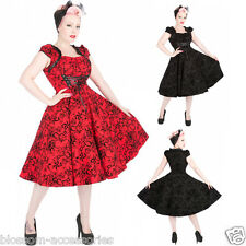 RKH74 Hearts & Roses Flocking Floral Rockabilly Evening Dress 50s Vintage Swing