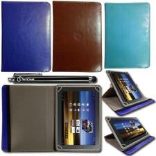 Rotating Stand Leather Wallet Case Cover Folio for 10.1 inch Tablet + Stylus