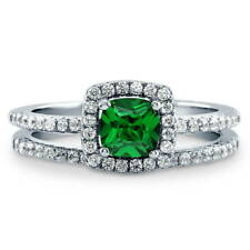Silver 0.745 CT Cushion Simulated Emerald CZ Halo Solitaire Engagement Ring Set