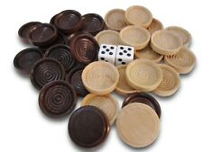 30 Backgammon Pieces Wooden Checkers + 2 Dice Wood Dark Brown Natural 1.25